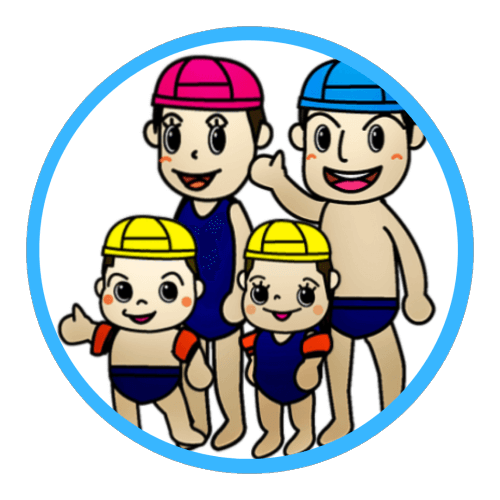 Animated family with adults and kids that are wearing swimming suits