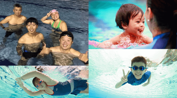 Adult and kid professional swimmers in olympic pool
